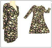 Joe Browns Ladies Floral Bird print dress Size 8 Black  Summer Holiday Party