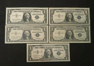 Lot of 5 $1.00 Silver Certs, Series 1957(5) Nice Rare Lot AU/CU  21821