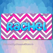 Pink Purple Chevron Personalized Name Aluminum Vanity Auto Car License Plate New