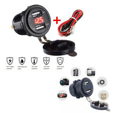 3.1A 12V-24V Car Motorcycle Boat Red LED Voltmeter Dual USB Charger Socket+ Wire