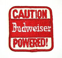 Vintage Caution Budweiser Powered! Beer Distributor Cloth Patch 1970s NOS New