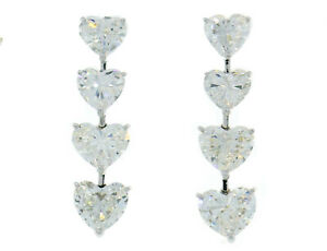 Moussaieff Heart Diamond Platinum Dangle EARRINGS with 8 GIA Reports