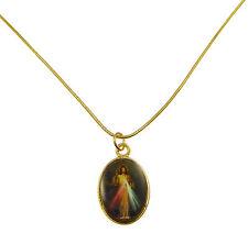 Catholic Divine Mercy image medal pendant gold colour necklace