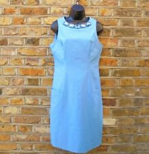 Moschino Cheap & Chic Azul Vestido Ceñido Sin Mangas Escote piedras preciosas Size UK 12