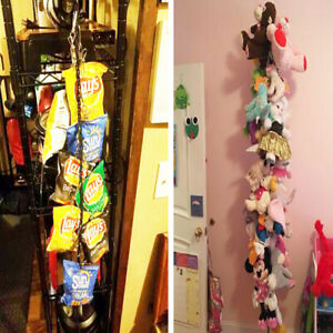 Storage Chain wall Wount & 20 Clips for Toys,Sun Visors,Hats,Scarves,Gloves,Cap