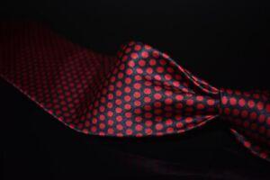 Stefano Ricci Made in Italy Gloss Satin Navy Red Bubble Polka Dot Silk Tie NR
