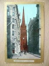 Religious Postcard- Trinity Church & Wall Street, NY-Ullman's Gold Border Series