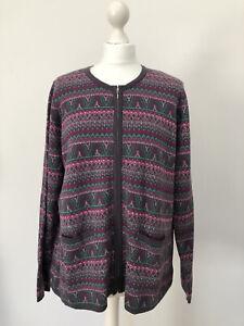Tulchan Purple Zigzag Zip Cardi Size 18 Lightweight  Kitsch Quirky Granny