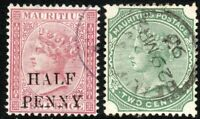 Mauritius 1876/83 maroon 1/2d on 10d green 2c crown CC/CA perf 14 used SG77/103