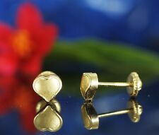 10K Solid Gold 6 mm Fabulous Frosted Heart Stud Earrings Jewelry