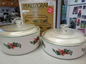 Pfaltzgraff Pottery CHRISTMAS HERITAGE 2 Casseroles with Lids & Original Box :-)