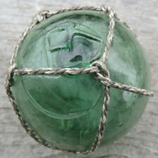 "Japanese Blown Glass FLOAT 2"" DOUBLE STAMP WP Mark#166 (""hi""=sun/day) Green Net"