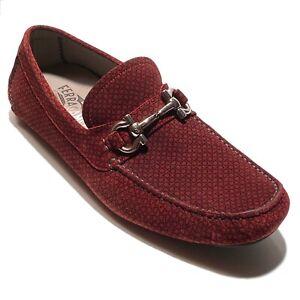 Ferragamo Gancini Bit Red 7.5 E Mens Suede Drivers Dress Loafers Moccasin Brown