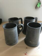 4 Vintage Pewter Tankards , Various Condition, Sold As Seen