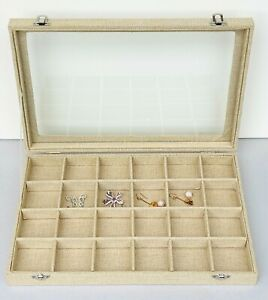 Jewellery Storage Display Case Tray Holder Wooden Organiser Box with Glass
