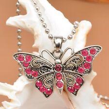 1pcs plum Rhinestone Butterfly Tibetan Silver Charm Pendant Necklace