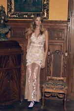 $410 FOR LOVE & LEMONS 'Mallorca' Embroidered Maxi Dress Latte Nude Floral XS