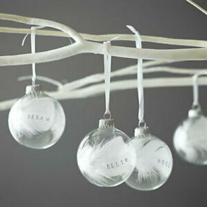 8/10cm 20x Transparent Baubles Christmas Balls Clear Wedding Party Fillable DIY