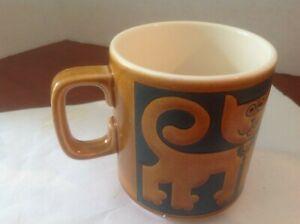 Vtg HORNSEA Coffee Tea Mug Happy/Sad Cats Angry Fish John Clappison