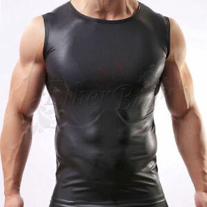 Mens PVC Wet look T Shirt Bodysuit,Clubwear roleplay Size M nightclub wear