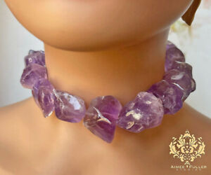Aimee Fuller Delicious Grape Genuine Amethyst Chunky Statement Necklace Purple