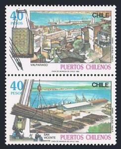Chile 884-885a pair,hinged.Michel 1351-1352. Ports 1990.Valparaiso,San Vicente.