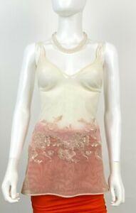 La Perla sz 2 M 6 8 US Sheer Ivory Camisole Slip Dress Night Gown Runway Auth