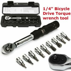 1/4 2-14NM Drive Click Torque Wrench Hand Spanner + 9 Socket Bits + Box Set Tool