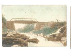 RPPC  MAINE PM BELFAST TRAIN TRESTLE 1909 REAL PHOTO COLOR