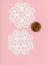 Miniature Dollhouse 2 White Venise doily - 4 center Flowers  006