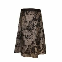 Fever A Line Skirt Size 12 Brown & Bronze Floral Casual Smart Medium