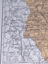 1923: Map Rutlandshire 97 Year Old Print  Rutland Shire School Room Uppingham D