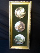John Constable Style Set 3 Ceramic Art Country Scenes Miniatures Gilt Frame