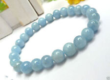 "New 8mm Light Blue Aquamarine Gemstone Round Beads elastic Bracelet 7.5"" gift"