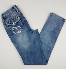 CRB Canyon Rvr Girls 14 Skinny Jeans Flap White Heart Embroidery Flap Pockets