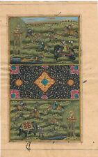 Hand Painted Mughal Miniature Painting Hunting Scene On Paper Finest Artwork