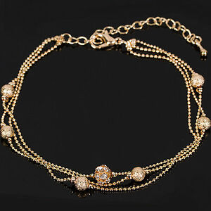 """Gold Tone 3 Strand Ankle Chain Ball Bead Crystal Anklet Length 8"""" to 10"""""""