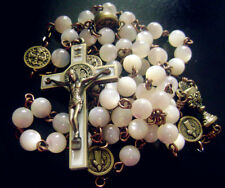 ROSARY Ancient bronze* Vintage Mother-of-Pearl Beads  st.benedict Cross necklace