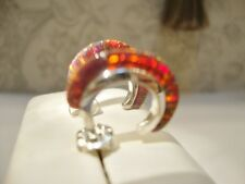 "small 1/2"" Red FIRE OPAL Small Hoop Earrings Sterling Silver 925 Thin sliced"