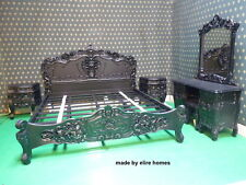Matt Black Rococo bedroom set >>with Double or King size bedframe >> TOP QUALITY