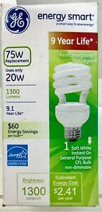 GE Energy Smart Spiral Compact Fluorescent Bulb, 20 Watts, Replaces 75W