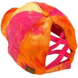 C.C Ponytail Criss Cross Messy Buns Ponycaps Baseball Cap Hat Tie Dye Orange