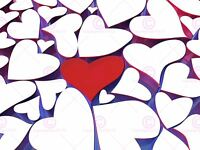Painting Illustration Red Love Heart Abstract Design Canvas Art Print