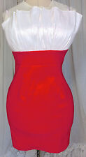 70s Red White Body Con Wiggle Micro Mini Slip Dress