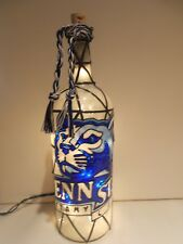 Penn State Inspiered Hand painted Wine Bottle Lighted Stained Glass look