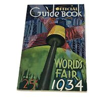 1934 Chicago World's Fair Official Guide Book Program With Fold Out Map Booklet