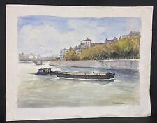 Peinture grande aquarelle signée P. SOUCHAUD - Peniche sur Seine 65 x49 cm