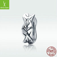 925 Sterling Silver Charm Bead Charming Leaf Fit Women Bracelet Chain New Design