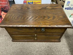 """Antique Store Wood Cabinet Display Jemmings Co Draws 21"""" By 13"""" By 10"""""""