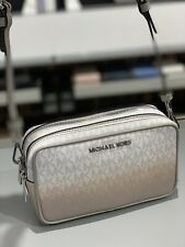 Michael Kors Womens Small Camera Crossbody Purse Handbag Bag White Grey Silver